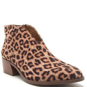 Qupid Cheetah U front cut heeled Bootie